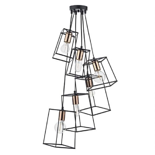 Tower 6 Light Cluster Pendant Black TOW0622